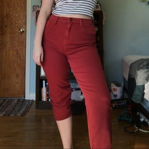 Red Crop Jeans